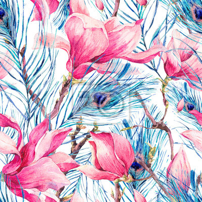 Wall mural Seamless Pattern with Magnolia and Peacock Feather