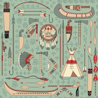 Wall mural seamless pattern with Native American attributes
