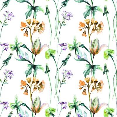 Wall mural Seamless pattern with Original Summer flowers