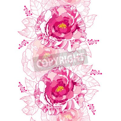 Wall mural Seamless pattern with outline peony flower and ornate leaf in pastel pink colored on the white background. Floral vertical border with contour blossoming peonies for summer design.