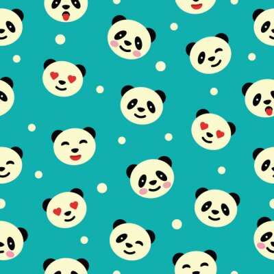Wall mural Seamless pattern with panda. Vector illustration.