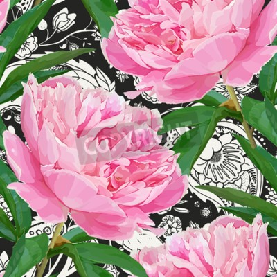 Wall mural Seamless pattern with peonies