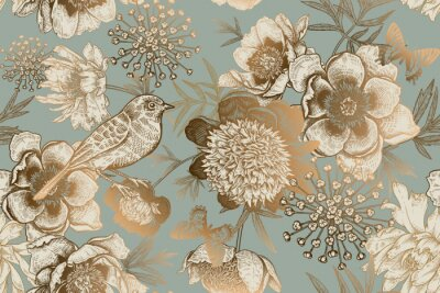 Wall mural Seamless pattern with peonies, bird and butterflies. Vintage.