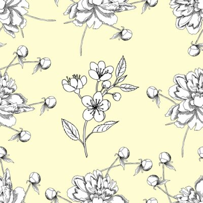 Wall mural Seamless pattern with peony