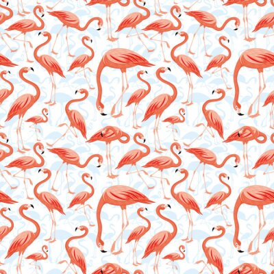 Wall mural Seamless pattern with pink flamingos on white background.