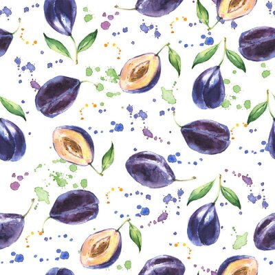 Wall mural Seamless pattern with Plum, Hand drawn fruit background, Watercolor