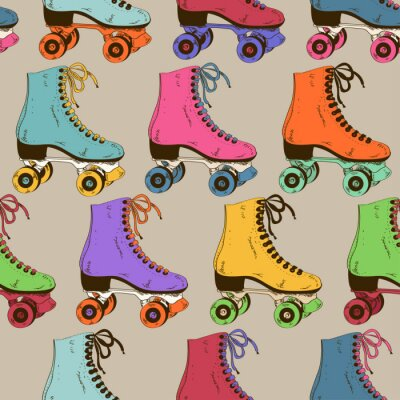 Wall mural Seamless pattern with retro roller skates