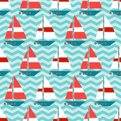 Wall mural Seamless pattern with sailboats on the waves