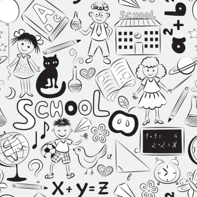 Wall mural Seamless pattern with school theme