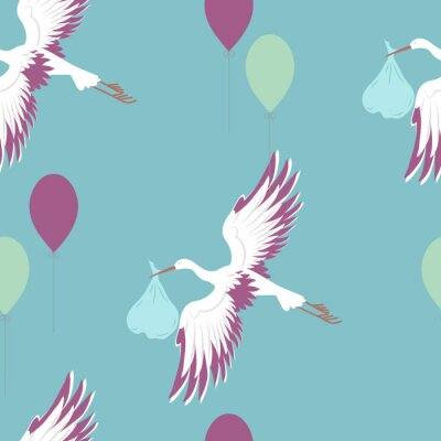 Wall mural Seamless pattern with stork and balloons