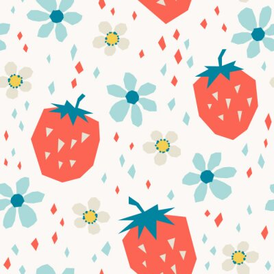 Wall mural seamless pattern with strawberries and flowers