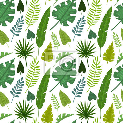 Seamless Pattern With Tropical Flowers And Leaves Doodle Style Wall Mural Murals Myloview Com Palm leaves artificial tropical monstera plant 100pcs fake leaves safari birthday decorations,jungle theme party. wall mural seamless pattern with tropical flowers and leaves doodle style