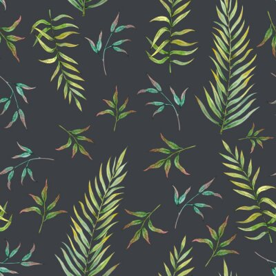 Wall mural seamless pattern with tropical leaves on a dark background