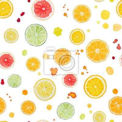 Seamless pattern with watercolor citrus