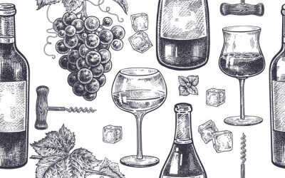 Wall mural Seamless pattern with wine drinking.