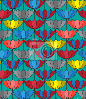 Wall mural Seamless patterns background with retro umbrellas, Repeating tex