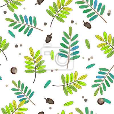 Wall mural Seamless patterns cute leaves background, Water color style, Rep