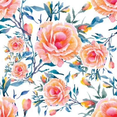 Wall mural Seamless patterns with Beautiful flowers, watercolor illustration