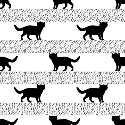 Wall mural Seamless patterns with silhouettes of the black cat.
