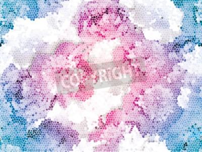 Wall mural Seamless peony mosaic. Pink blue flower pattern. Peony texture
