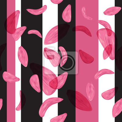 Wall mural Seamless petals flowers pattern and geometric composition backgr