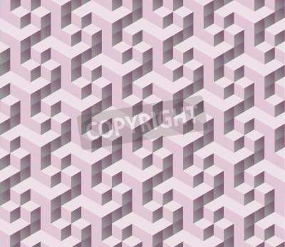 Wall mural seamless pink 3d isometric cube seamless pattern. Abstract digital colorful geometric background.