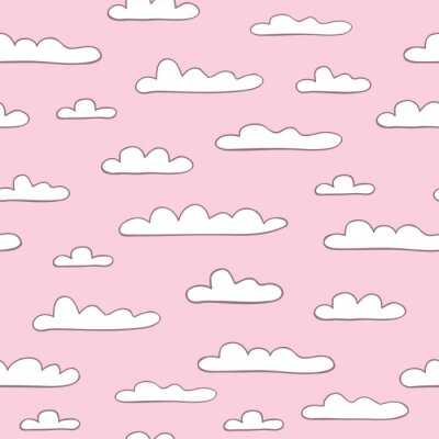 Wall mural Seamless pink cloudy background. Vector
