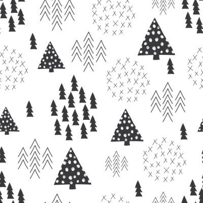 Wall mural Seamless scandinavian style simple illustration christmas tree background