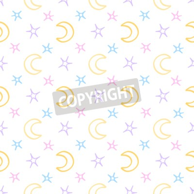 Wall mural Seamless soft stars and moon baby night background. sweet dreams pattern