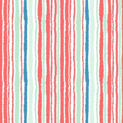 Wall mural Seamless strip pattern. Vertical lines with torn paper effect. Shred edge background. Cold, soft, green, blue, red, white colors. Winter theme. Vector