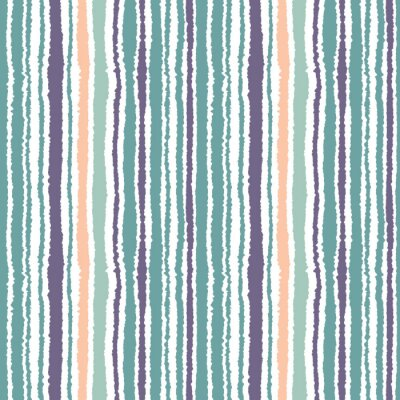 Wall mural Seamless striped pattern. Vertical narrow lines. Torn paper, shred edge texture. Blue, white, orange soft colored. Vector