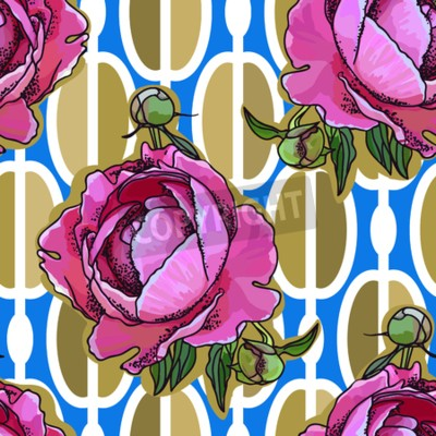 Wall mural Seamless trend pattern - peony flower on ornamental background. Vintage style