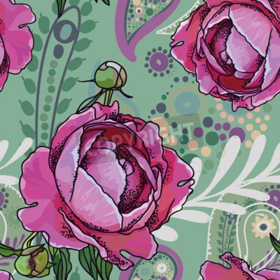Wall mural Seamless trend pattern - peony flowers and paisley.