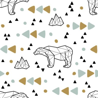 Wall mural Seamless tribal pattern with low poly polar bears and triangles. Kids and baby fashion fabric design. Vector illustration.