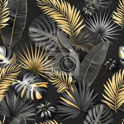 Wall mural Seamless tropical pattern. Leaves palm tree illustration. Gold, gray, black lives