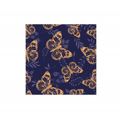 seamless vector background with graphic illustrations of orange butterflies and plants, on a blue background