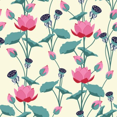 Wall mural Seamless vector illustration with delicate lotus flowers.