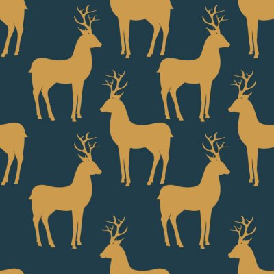 Wall mural Seamless vector pattern with deer