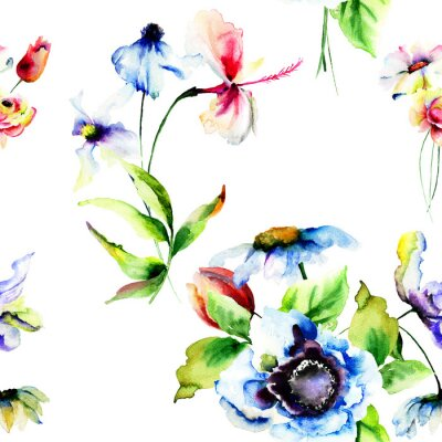 Wall mural Seamless wallpaper with stylized flowers
