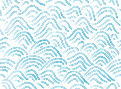 Wall mural Seamless watercolor abstract waves pattern hand painted background