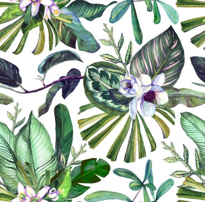 Wall mural Seamless watercolor pattern with tropical flowers, magnolia, orange flower,  tropical leaves, banana leaves