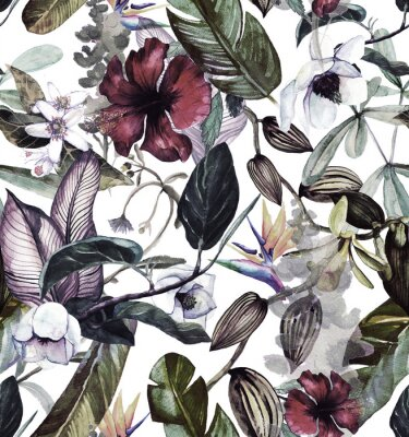 Wall mural Seamless watercolor pattern with tropical flowers, magnolia, orange flower, vanilla orchid, tropical leaves, banana leaves