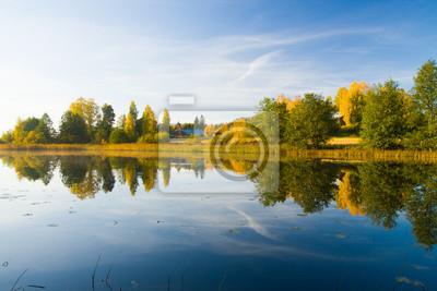 Serene autumn waterscape beautiful colors