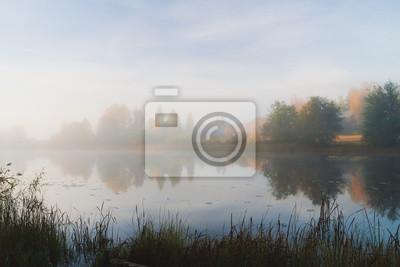 Serene autumn waterscape dawn