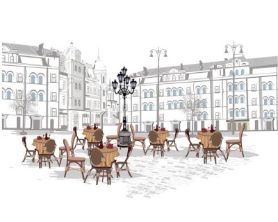 Wall mural Series of backgrounds decorated with old town views and street cafes. Hand drawn Vector Illustration.