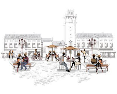 Wall mural Series of street cafes in the city with people drinking coffee