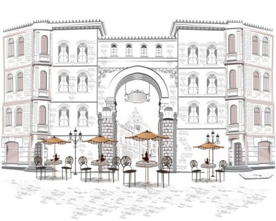 Wall mural Series of street views with cafes in the old city