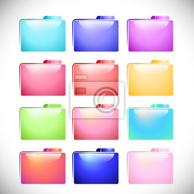 Wall mural Set colorful file folder icons vector design