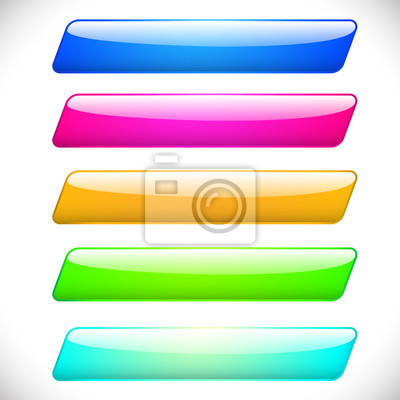 Wall mural Set colorful rectangle web buttons vector design
