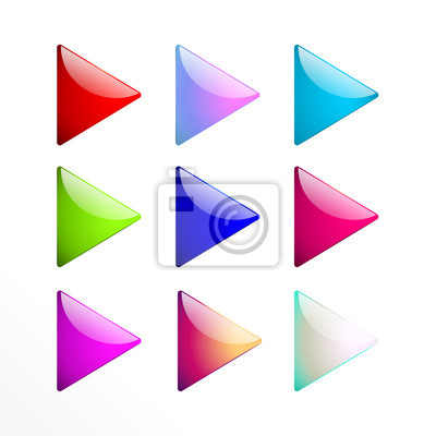 Wall mural Set colorful triangle buttons isolated on white background
